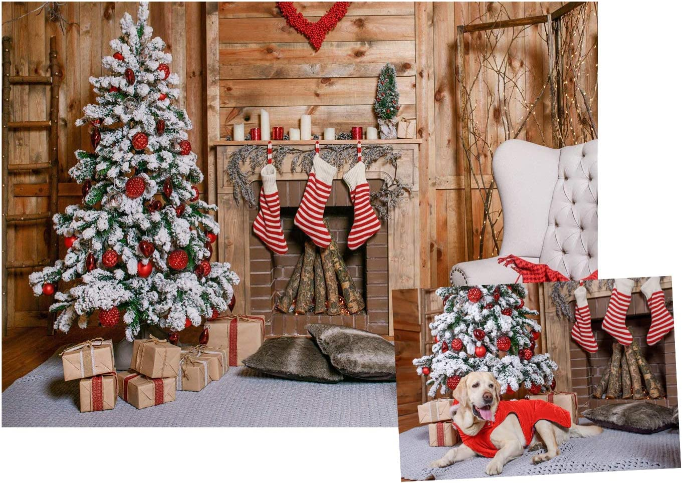 7x5 FT Christmas Tree Decorations Christmas Background Photography Background Pattern Photography Collapsible Backdrop Studio Props 10-788