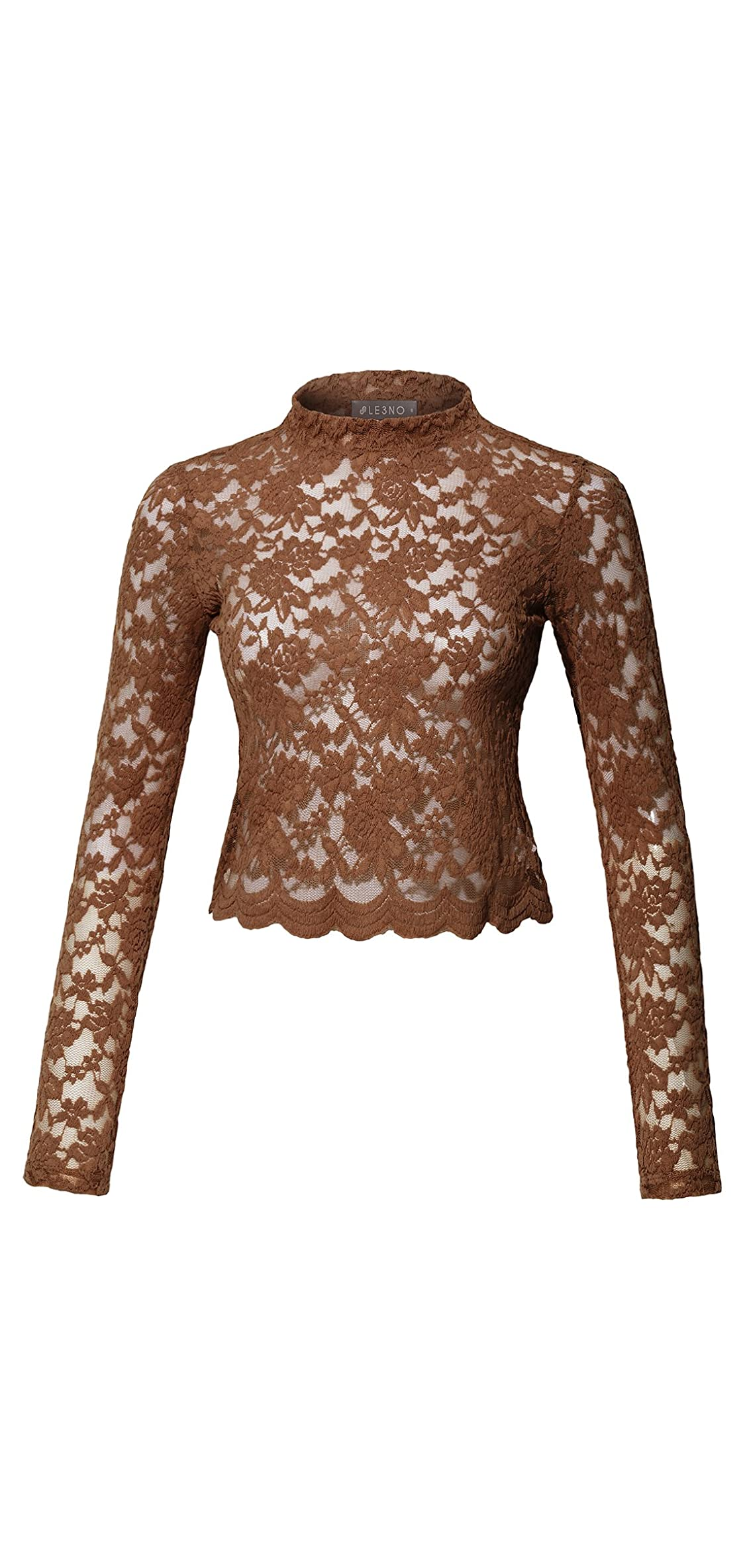 Womens Stretchy Long Sleeve Floral Lace Mock Neck Crop Top