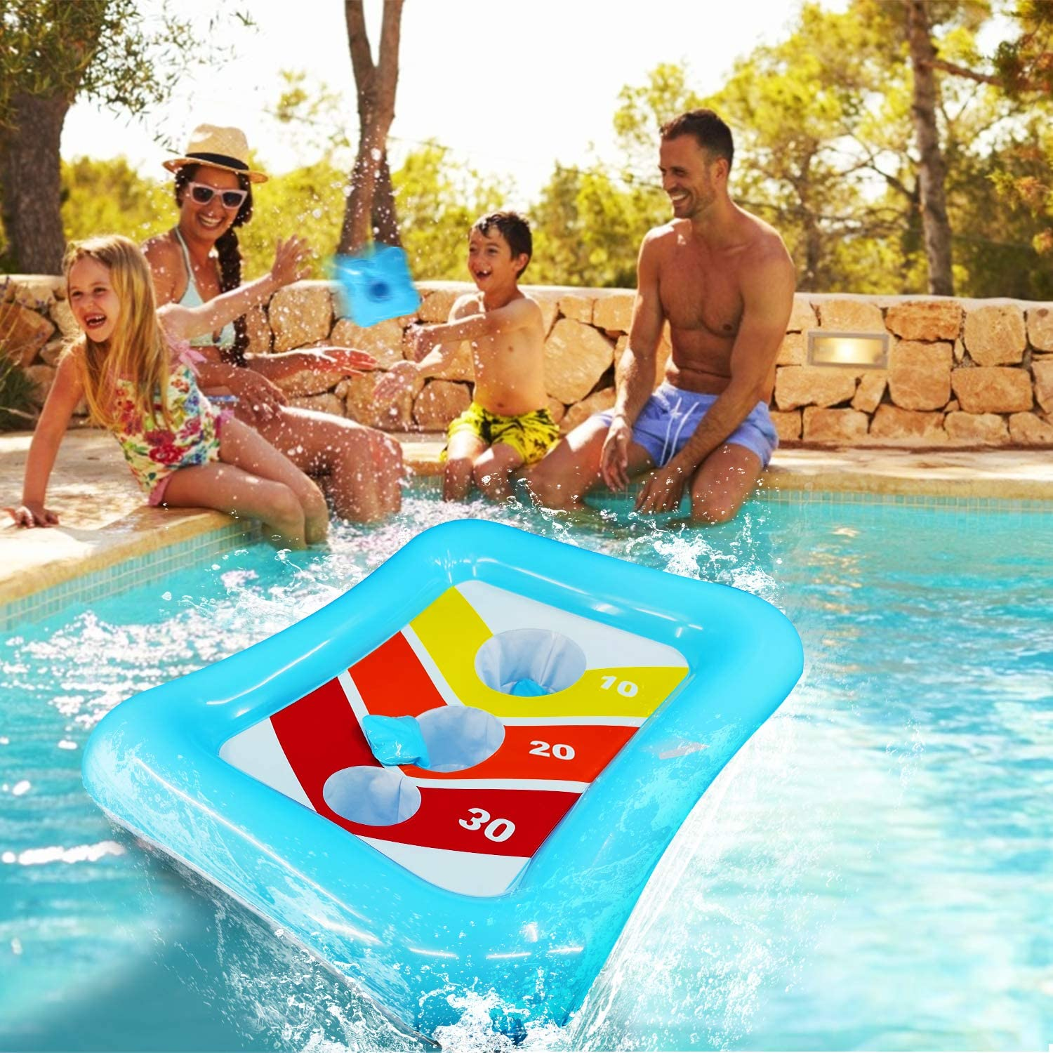 iGeeKid 36 Swimming Pool Ring Toss Games Inflatable Pool Toys Floating Toss Game for Kids Adults Floating Cornhole Board Set Swimming Toys Summer Pool Party Water Carnival Outdoor Beach Toy