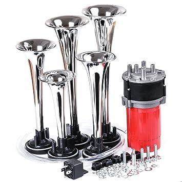 YoiYee Super Loud 5 trompeta 150db Dixie 12 V Kit de bocina de aire con compresor para coches, barcos, camiones, tractores, furgonetas y tren: Amazon.es: ...
