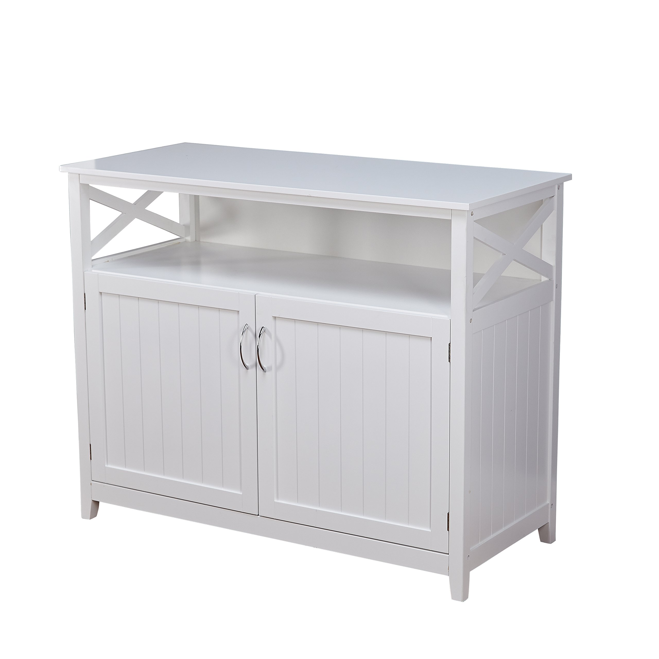 Target Marketing Systems 83670WHT Southport White Solid Wood Buffet Storage Cabinet