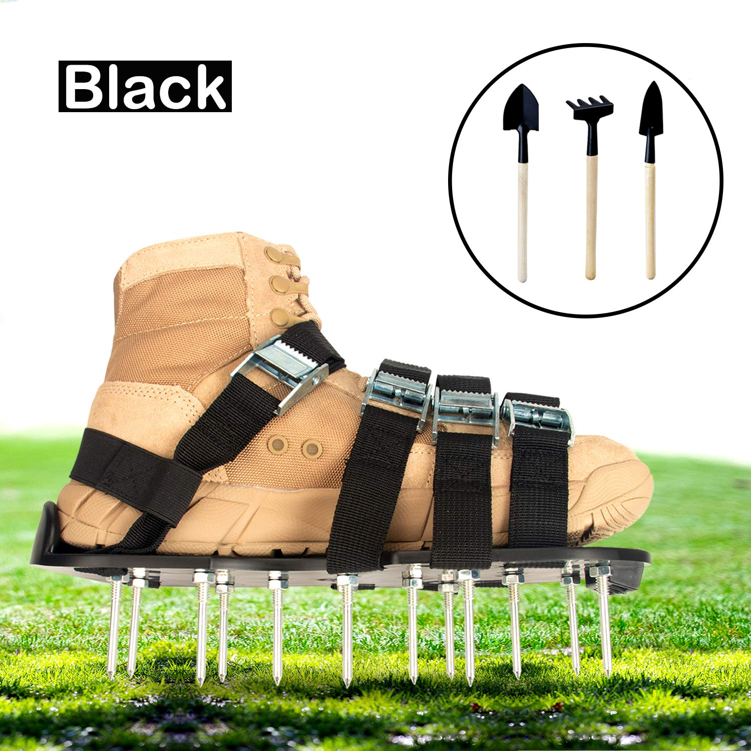 Goforbe Lawn Aerator Shoes, 4 Adjustable Straps Lawn aerating Shoes, Lawn Shoes for Women and Men Heavy Duty, Aerating Your Yard, Lawn, Roots & Grass (Black) by Goforbe