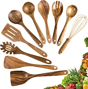 Wooden Cooking Utensils,10 Pack Kitchen Utensils Wooden Spoons for Cooking,Teak Wooden Cooking Spoons Spatula for Nonstick Cookware (10)