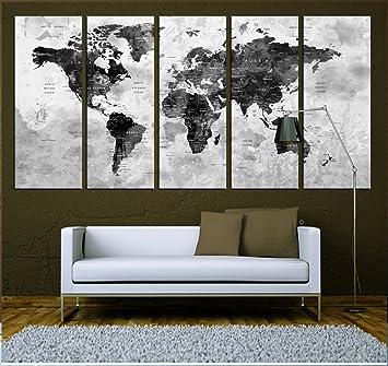 Push Pin World Map Canvas Print, Watercolor Wall Art , Ready To Hang, Extra
