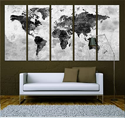 amazon com push pin world map canvas print watercolor wall art