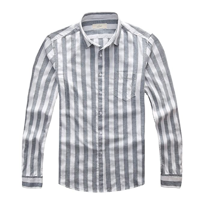 Zecmos Mens Long-Sleeve Slim-Fit Button Down Cotton Striped Shirt Casual  Grey S