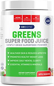 GoBiotix Greens Superfood Juice | Organic Green Veggie Powder | 20+ Fruits & Vegetables | Promotes Gut Health | Antioxidant with Probiotic Blends | Gluten Free Non-GMO Vegan | Apple Banana 450g