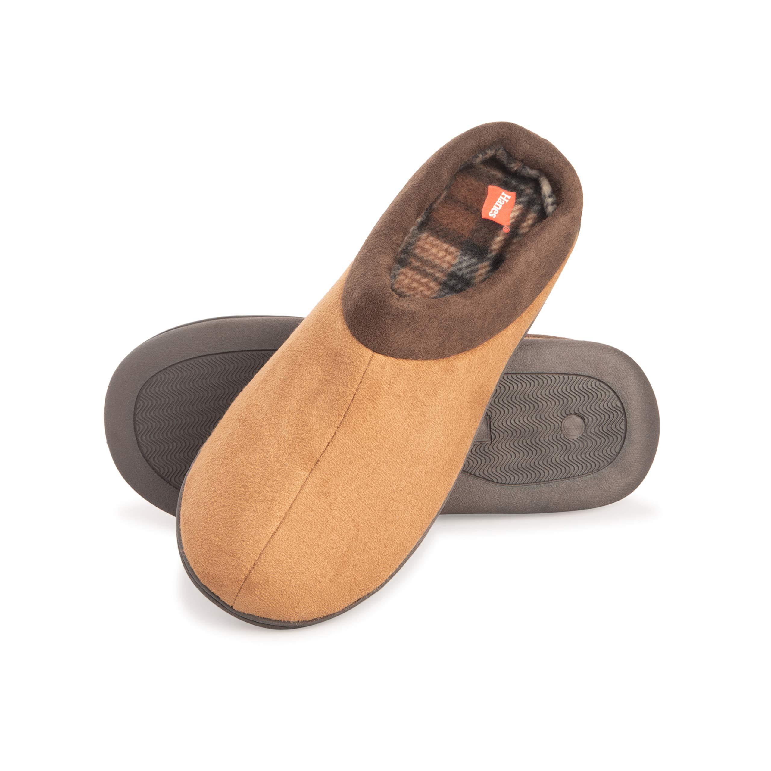 Hanes Men's Memory Foam Indoor Outdoor Suede Clog Slipper Shoe with Fresh Iq