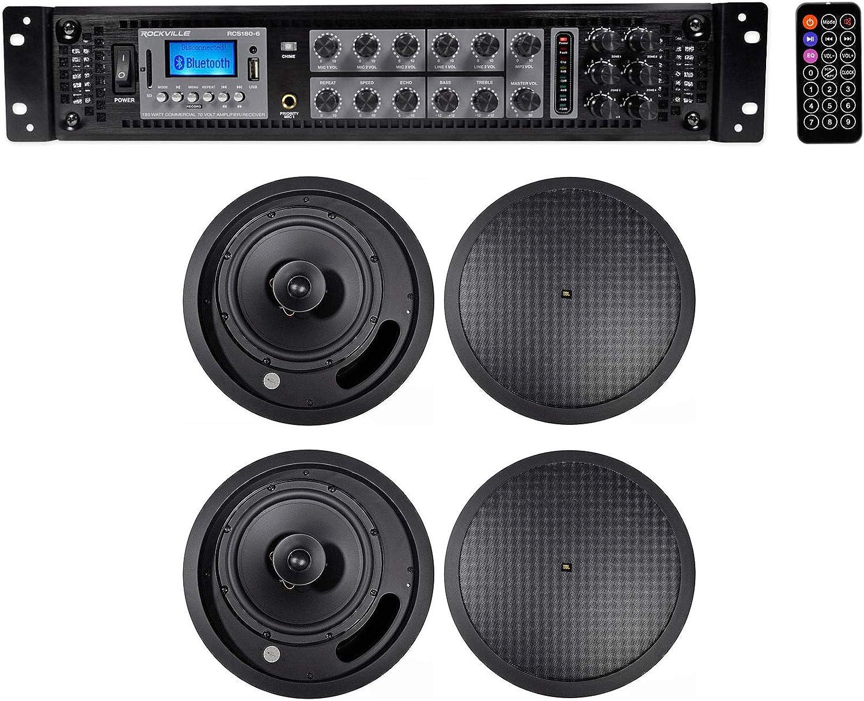 "4 JBL 3/"" 15w 70v In-Ceiling Speakers+Bluetooth Receiver For Restaurant//Bar//Cafe"