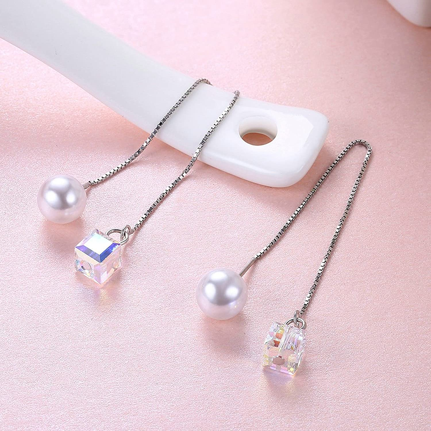 Aokarry Womens S925 Silver Earrings for Girls Simulated Pearl Ball Clear CZ Dangle