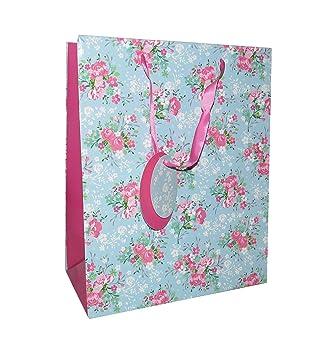 6 bolsas de regalo grandes de flores azules y rosas y ...