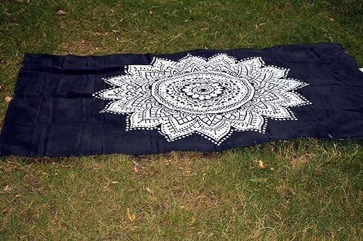 India Black & White Mandala Yoga Hojas Picnic Hojas ...