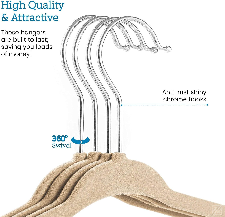 50 Pack Premium Quality Space Saving Strong and Durable 360 Degree Chrome Swivel Hook Ultra Thin Non Slip Junior Hangers - Renewed Black Kids Velvet Hangers 14 Wide ZOBER