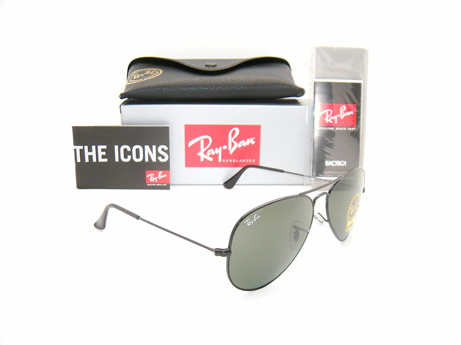 New Authentic Ray Ban Aviator Black Frame Grey Green Lens Rb 3025 L2823 58mm