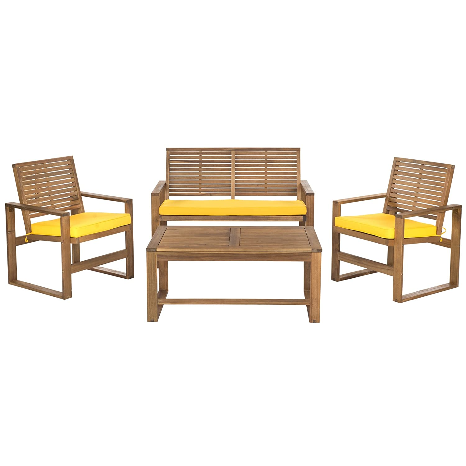 Amazon.com : Safavieh Home Collection Hailey Outdoor Living 4 Piece Acacia Patio  Furniture Set, Brown And Yellow : Patio, Lawn U0026 Garden