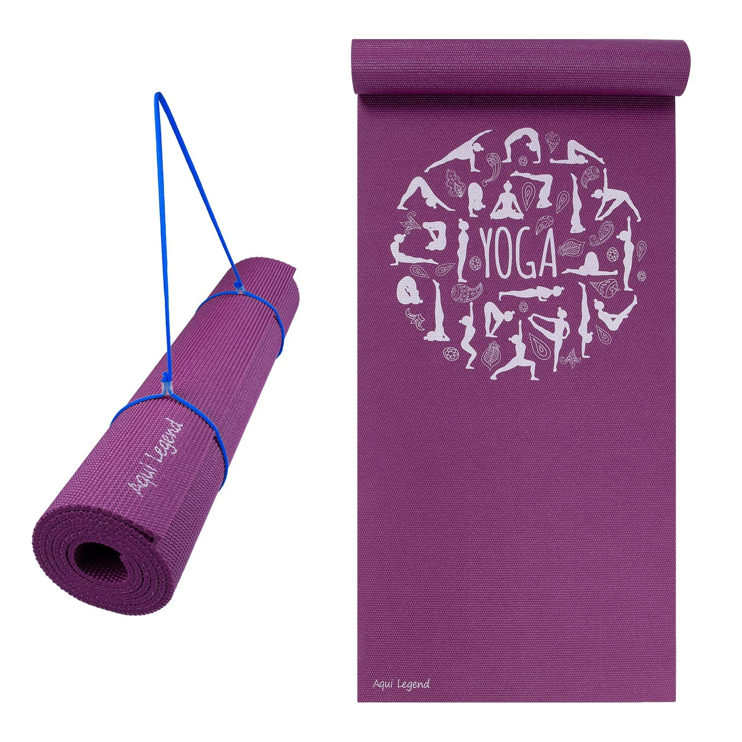 Aqui Legend Yoga Mat, Premium Print 6mm, Non Slip Exercise & Fitness Mat, Lightweight Anti-Tear for All Types of Yoga, Pilates & Floor Exercise with Carrying Strap