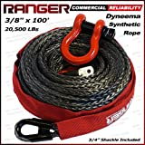 "Ranger 3/8"" x 100' Durable Dyneema Synthetic Winch Rope Cable 20,500LBs with Protective Sleeve by Ultranger"