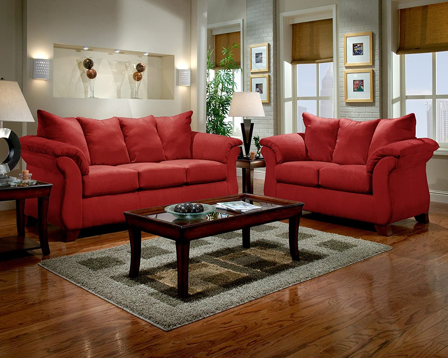 Amazon com roundhill furniture sensations microfiber pillow back sofa and loveseat set red kitchen dining