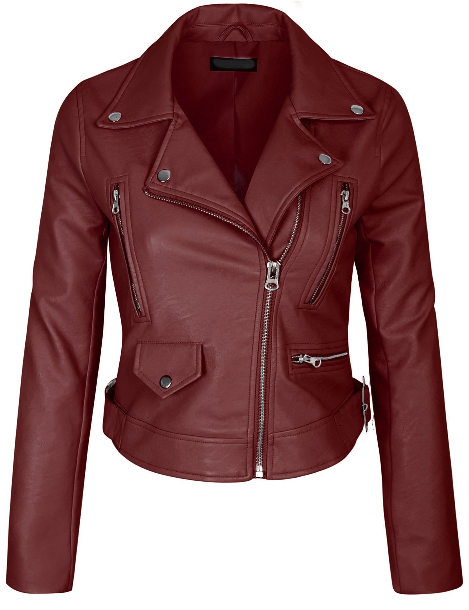 KOGMO Womens Double Breasted Faux Leather Zip Up Jacket-M-RED