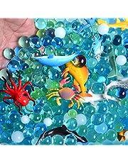 Water Beads Sea Animals Tactile Sensory Experience Kit - 24 Realistic Deep Sea Animal Figures Educational Toys & 5 Colors Sensory Water Gel Bead for Kids 3+