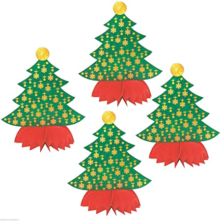 Christmas Tree Honeycomb Decorations   Pack Of 4