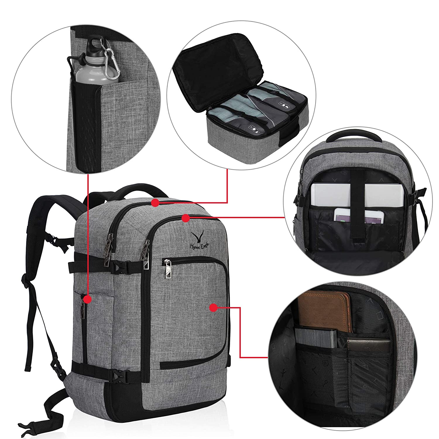 Light Grey with 3PCS Packing Cubes 2018 Hynes Eagle 40l Large Flight Approved Backpack