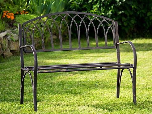 Nostalgie Gartenbank Metall Eisen Antik Stil Braun Gartenmöbel Garten Park  Bank