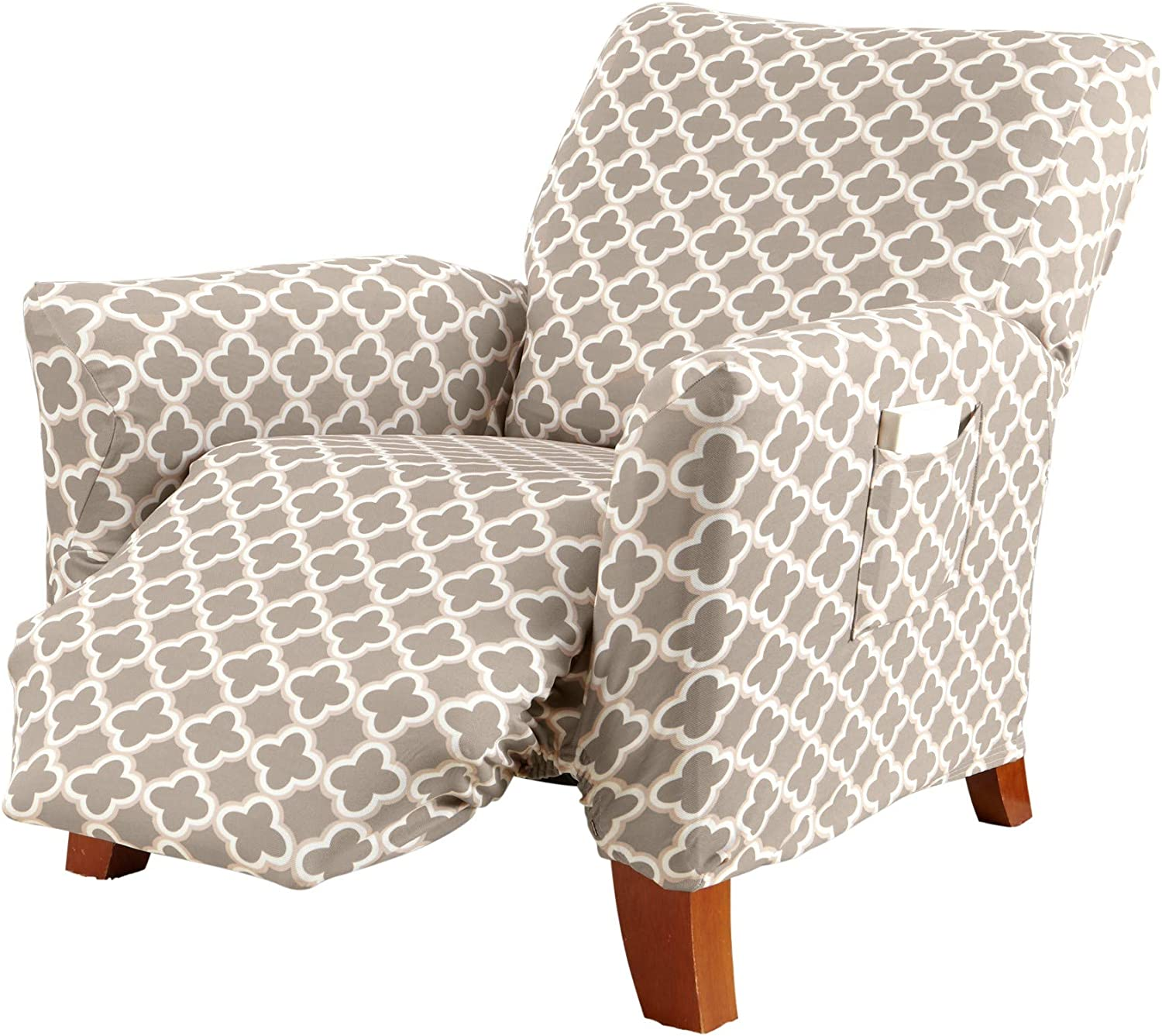 Printed Twill Recliner Slipcover. One Piece Stretch Recliner Cover. Strapless Recliner Cover for Living Room. Fallon Collection Slipcover. (Recliner, Beige)