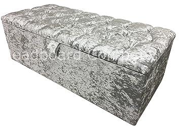 Blanket Box Diamond Large Black Crushed Velvet Diamante Storage Ottoman
