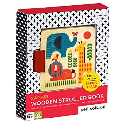 Petit Collage Wood Stroller Book, Safari : Baby