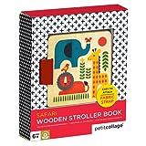 Petit Collage Safari Wooden Stroller Book, Multicolor