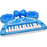 Toyshine Mini Piano Keyboard with Lights and Music, Blue