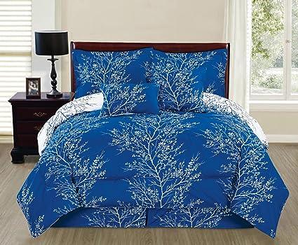 Amazon Com 6 Piece Royal Blue White Reversible Queen Branches