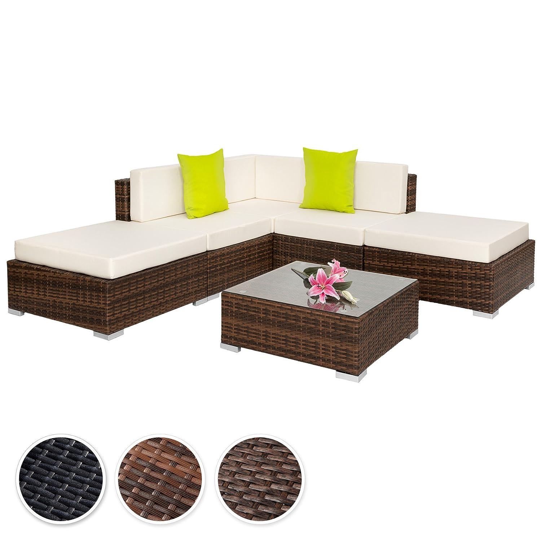 TecTake Hochwertige Aluminium Polyrattan Lounge Sitzgruppe mit Glastisch inkl. Kissen und Klemmen - diverse Farben - (Mixed Braun | Nr. 401812)