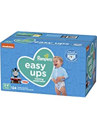 Pampers Easy Ups Pull On Disposable Potty Training Underwear for Boys, Size 5 (3T-4T), 124 Count, ONE MONTH SUPPLY