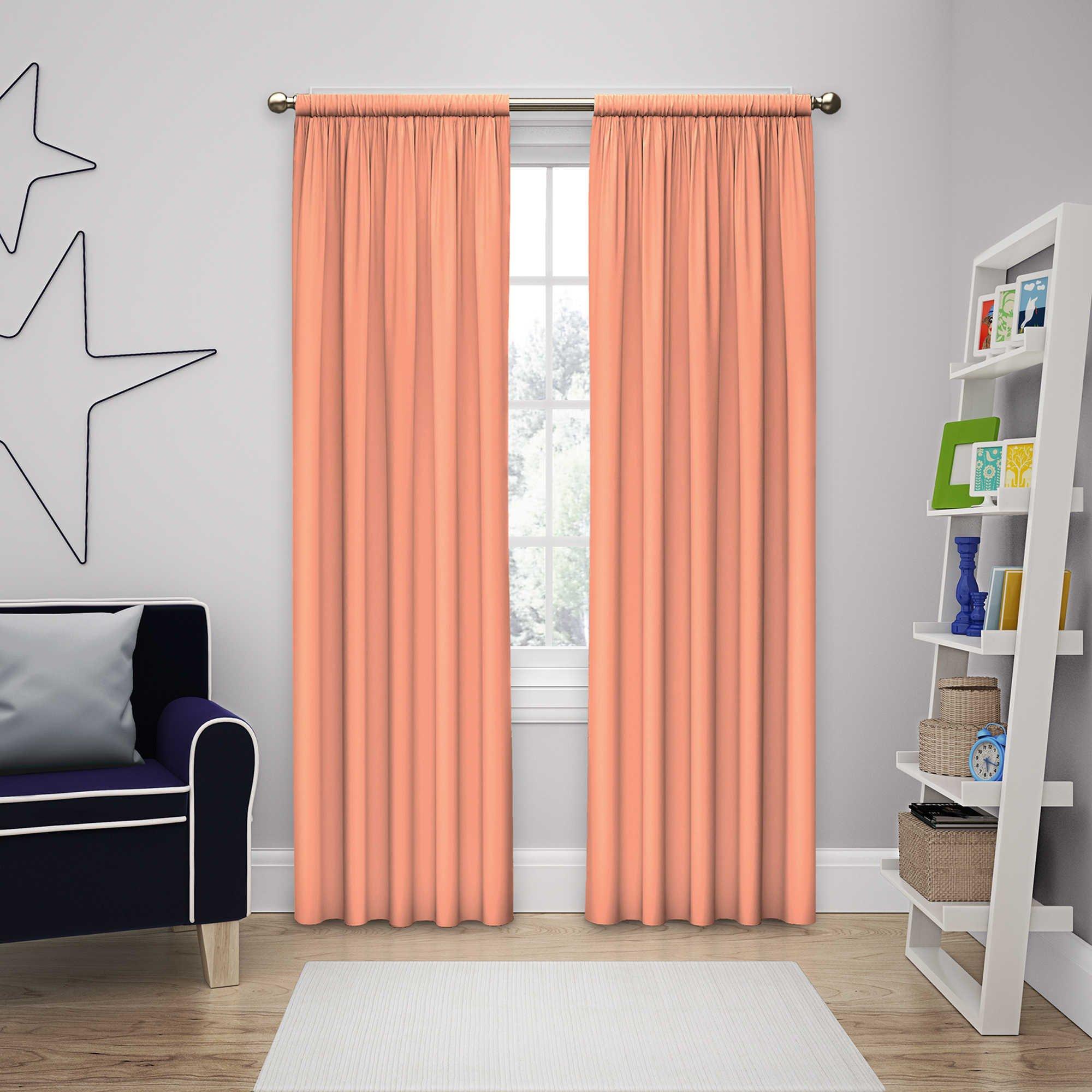 Solar Shield Microfiber Rod Pocket Light Filtering Window Curtain Panel (63-Inch, PAPAYA)