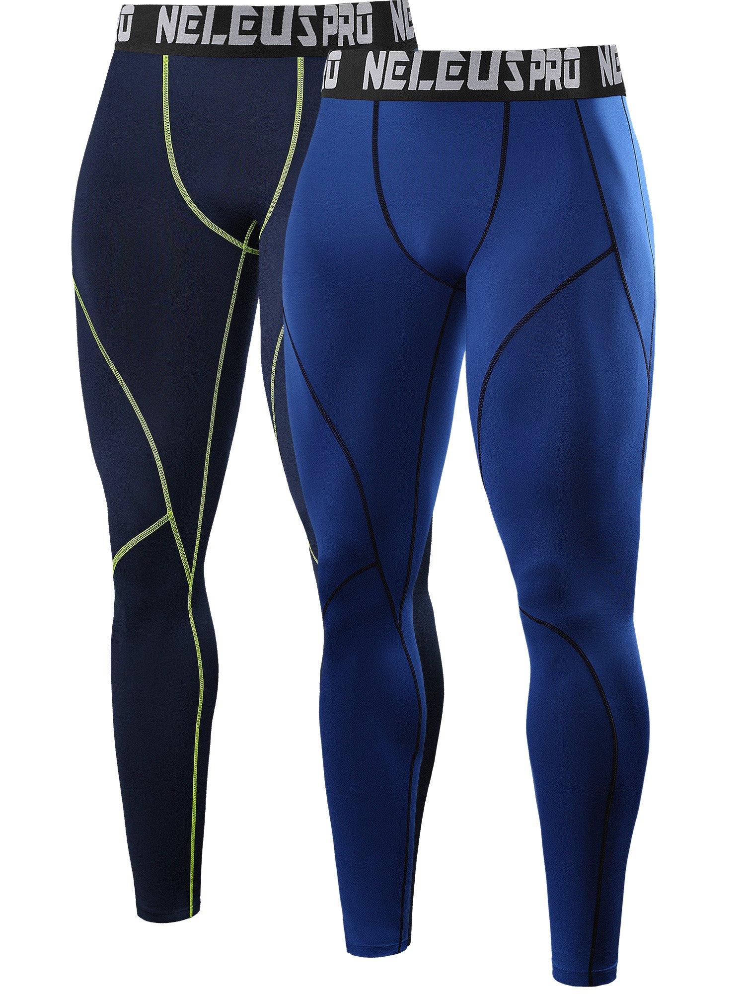 Neleus Men's 2 Pack Compression Pants Workout Running Tights Leggings,6013,Blue,Navy Blue,US S,EU M