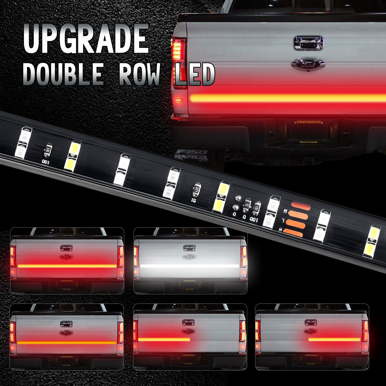 BESTTRENDY 60 Inch Truck Tailgate Light Bar- 5 Function [Brake, Turn Signal, Running, Reverse Backup] Tail Lights Weatherproof Double Row LED Flexible Strip Pickup Trucks, No-Drill