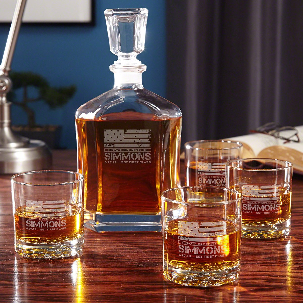 American Heroes Custom Whiskey Decanter Set with Glasses by HomeWetBar - Great Gifts for Those Who Serve, Retirement Gift