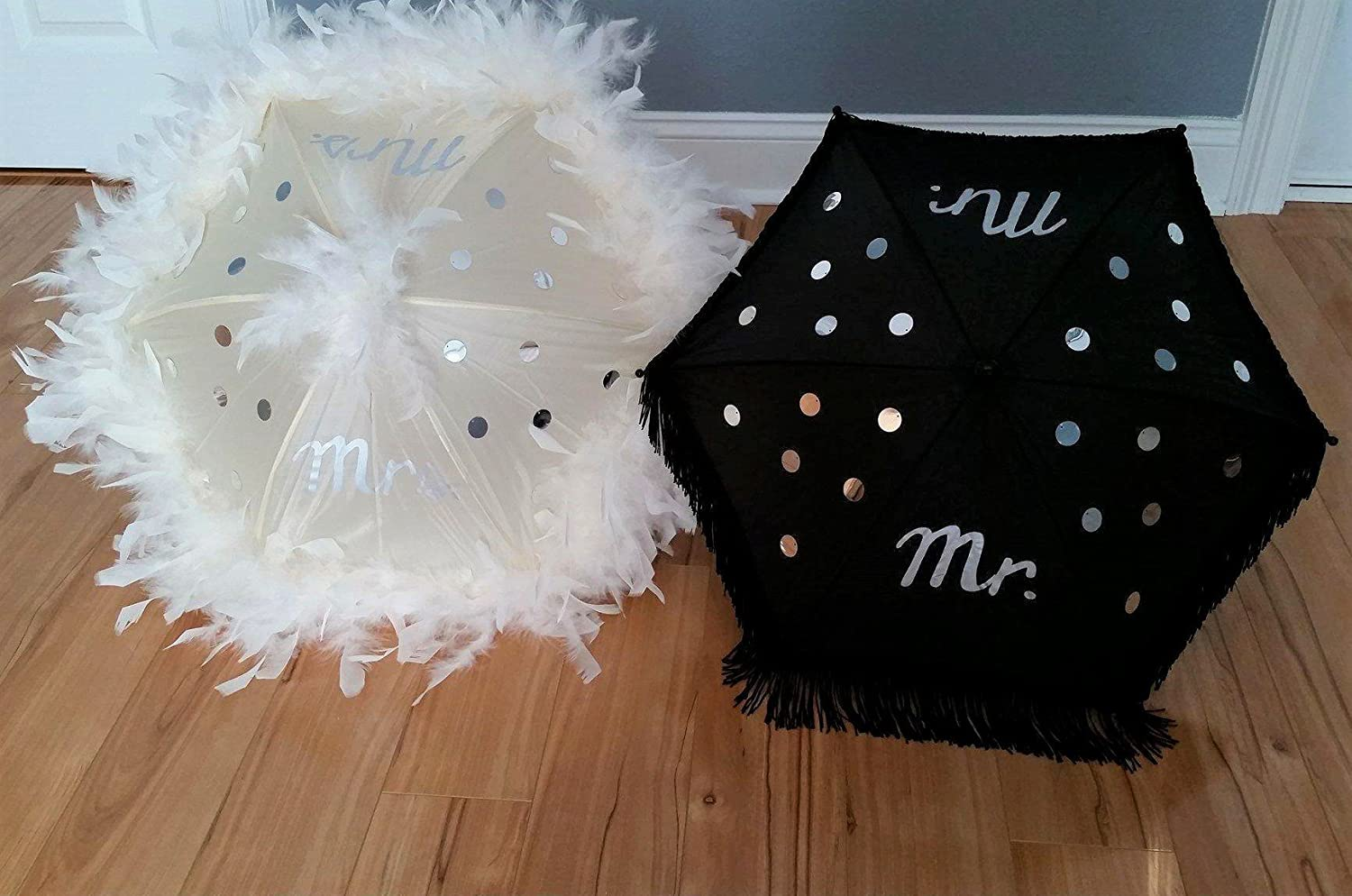 Wedding Second Line Parasol Umbrellas Handmade In New Orleans, Black and Cream, Silver Mr. Mrs. andSequins with Feathers and Fringe