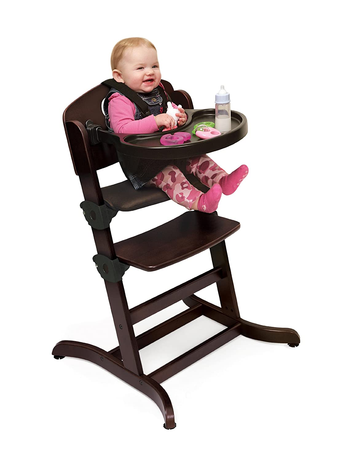 Amazon.com : Badger Basket Evolve Convertible Wood High Chair With Tray And  Cushion, Espresso (Discontinued By Manufacturer) : Childrens Highchairs :  Baby