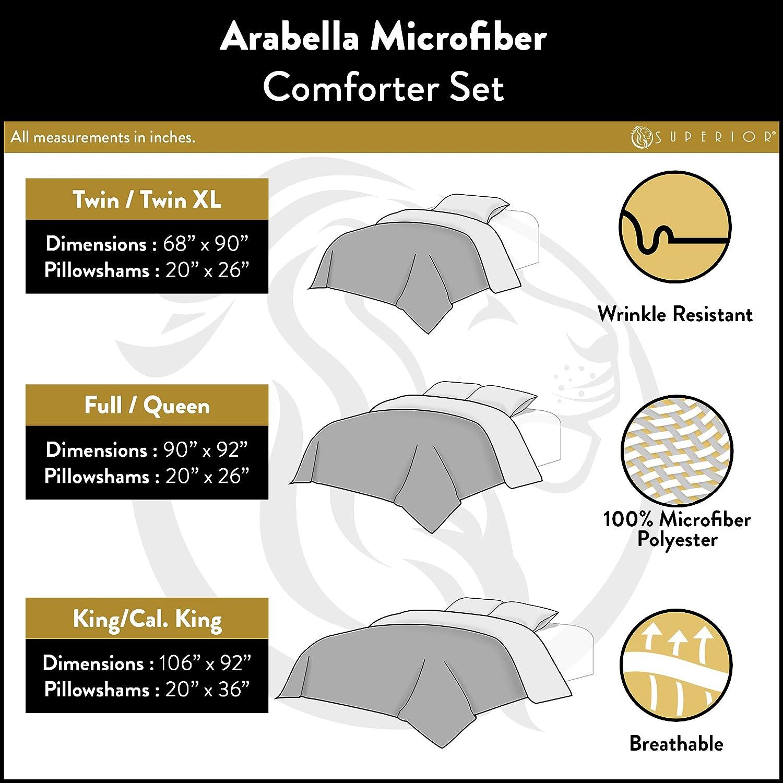 Grey Full//Queen Raised Diamond on Solid Fabric Superior Arabella All Season Down Alternative Comforter 3 Piece Set Breathable Wrinkle Resistant Hypoallergenic