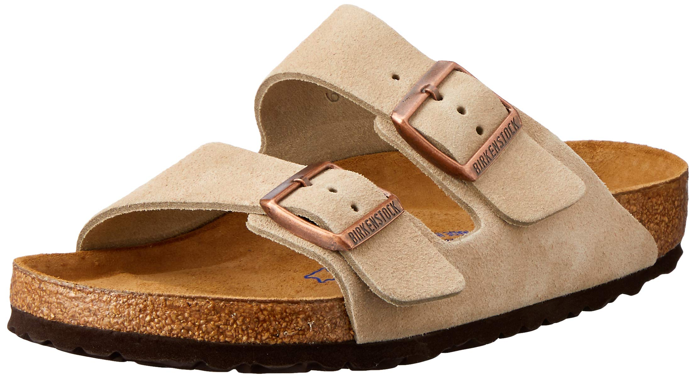 Birkenstock Arizona Suede Leather Sandals - Soft Footbed, Color:Taupe;Size:44 M EU