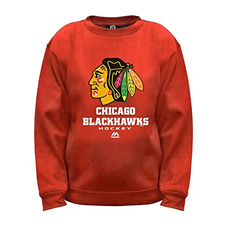 Amazon.com   NHL Chicago Blackhawks Long Sleeve Fleece Crew Neck Top ... e254961c9