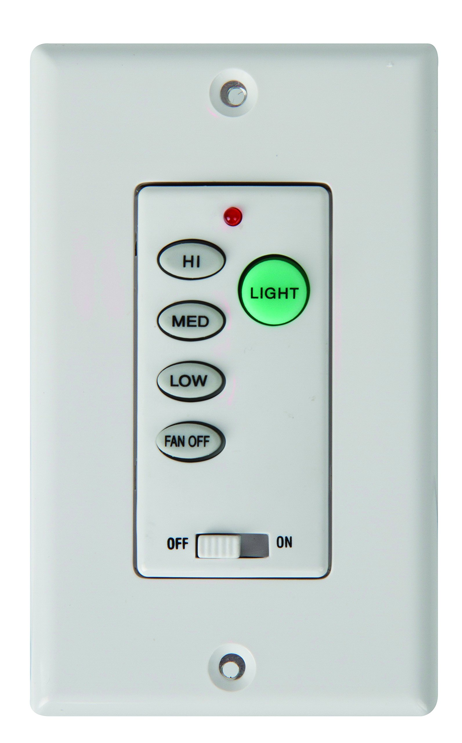 Concord Fans PD-009 Remote Control Intelligent Remote Hard Wired Wall Control For Multifamily Applications, 3 Speed Push Button Control, Light Kit On/Off