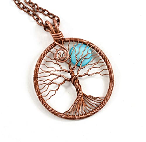 Amazon Com Handmade Copper Tree Of Life Necklace Pendant With Moon Copper Wired Wrapped Necklace Pendant Jewelry Handmade