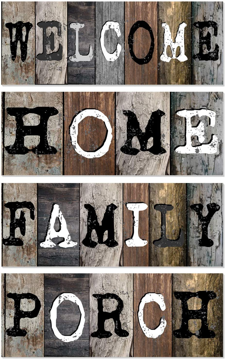 4 Signs Welcome Home Family Porch Wood Hanging Sign Kit -Farmhouse Wood Hanging Wall Art -Rustic Wood Plaque Giving For Housewarming -16 X 6 Inches Each