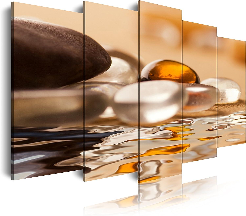 DekoArte - Cuadros Modernos Impresión de Imagen Artística Digitalizada | Lienzo Decorativo Para Tu Salón o Dormitorio | Estilo Zen Piedras y Agua Tonos Blancos Ocre Marron | 5 Piezas 150 x 80 cm