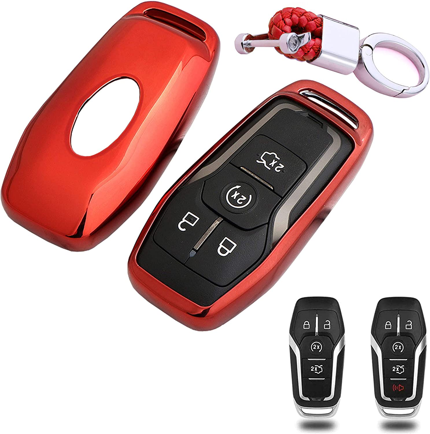 Pink BINOWEN for Ford Key Fob Case Shell Key Holder Rings Keychains Premium Soft TPU Full Protection Fit for Ford Fusion F-150 Edge Explorer Mustang Lincoln MKZ MKC 3//4//5 Buttons Smart Key