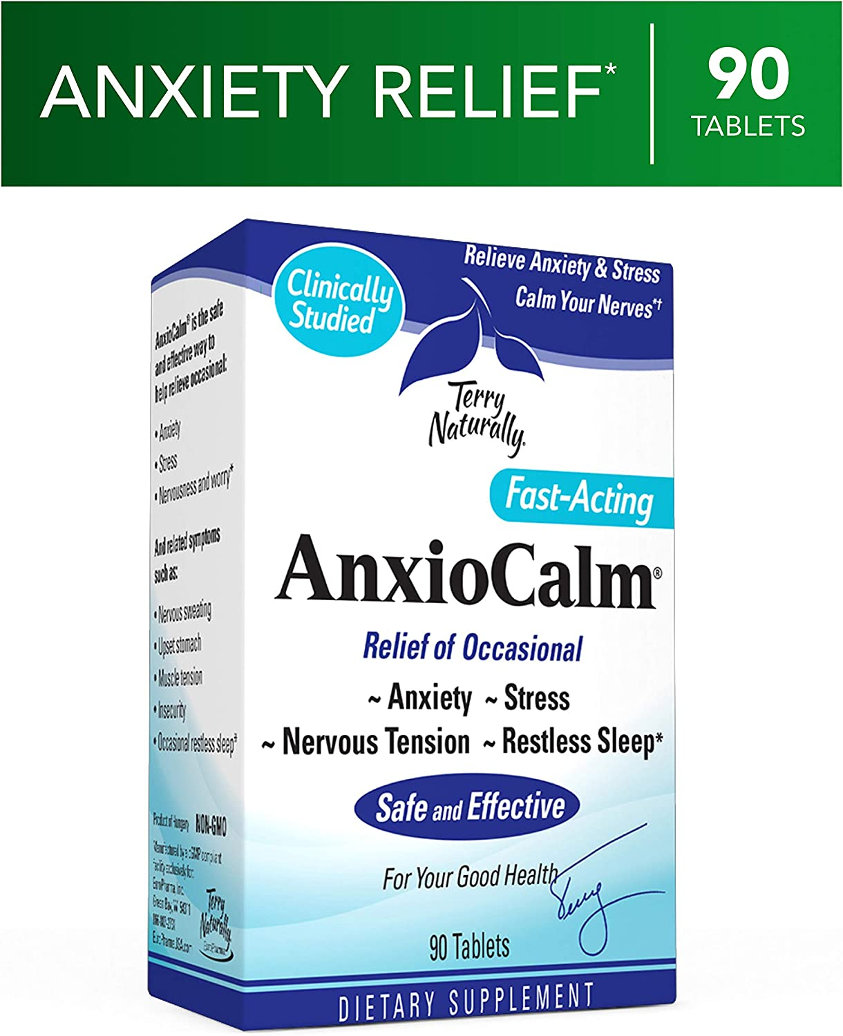 Terry Naturally AnxioCalm – 40 mg Echinacea Angustifolia, 90 Tablets – Non-Addictive Anxiety Stress Relief Supplement, Non-Drowsy – Non-GMO, Gluten-Free – 45 Servings